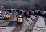 CSX SD50-2 #8638 is putting together its ballast train 